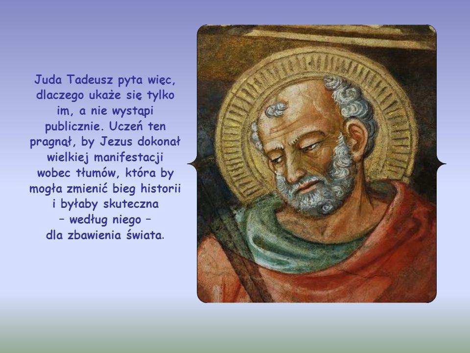 Juda Tadeusz pyta więc, dlaczego ukaże się tylko im, a nie wystąpi publicznie.
