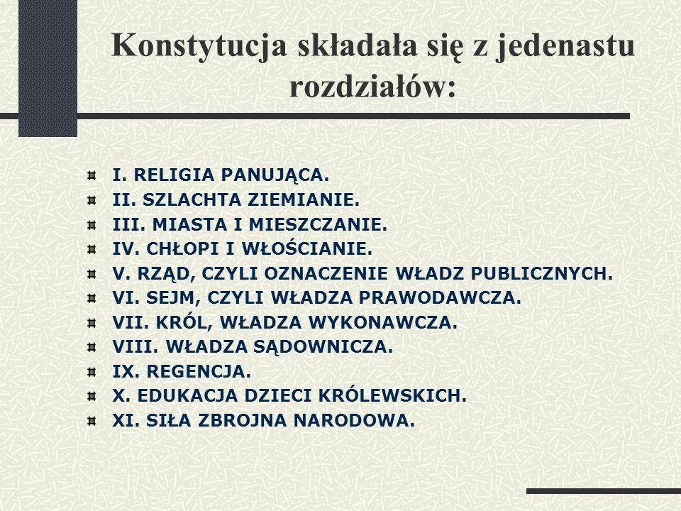 Konstytucja składała się z jedenastu rozdziałów: