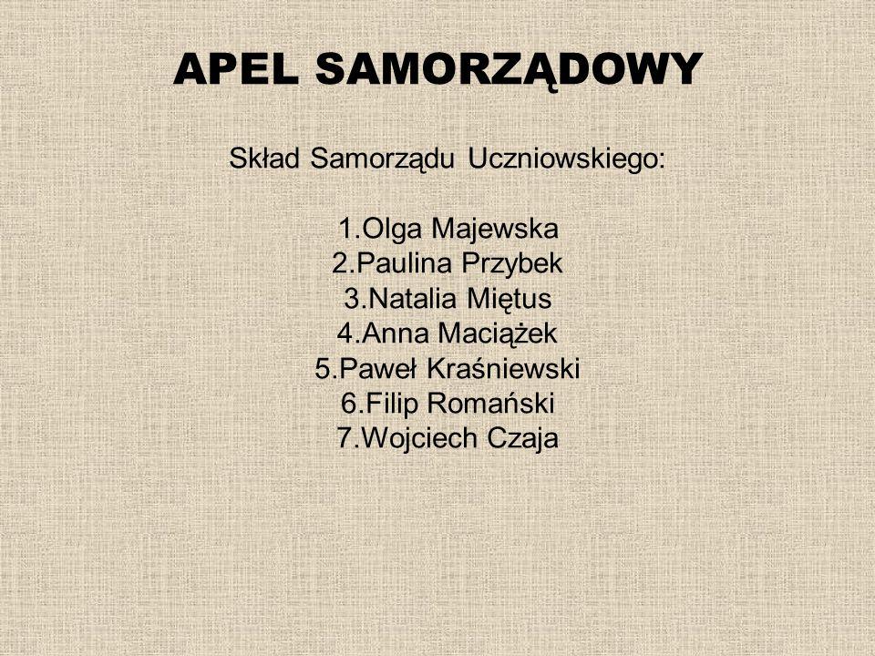 Skład Samorządu Uczniowskiego: