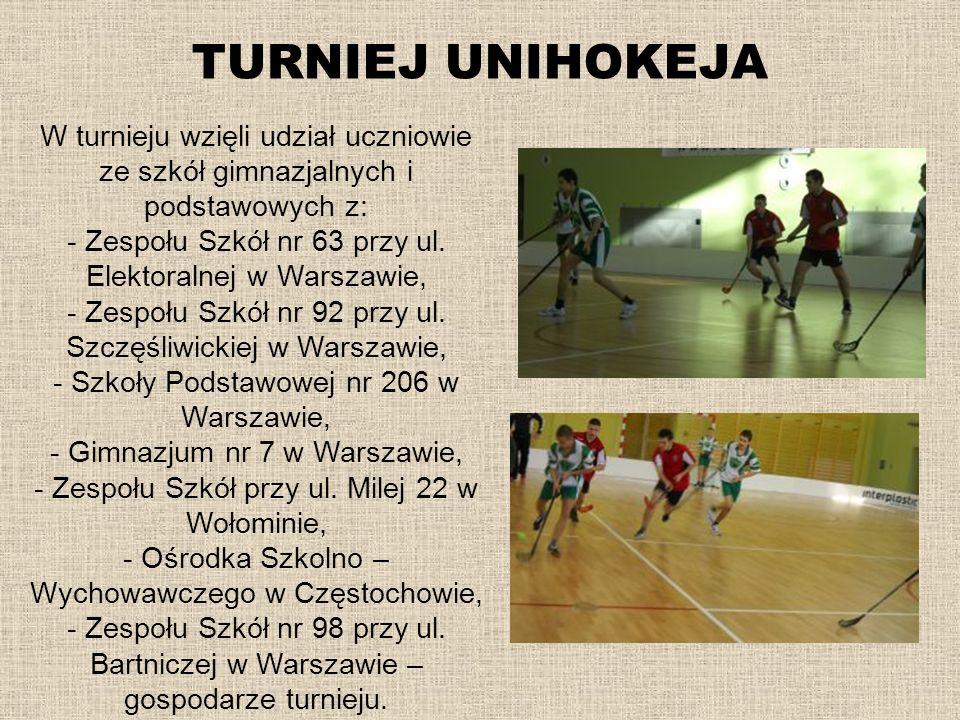 TURNIEJ UNIHOKEJA W turnieju wzięli udział uczniowie ze szkół gimnazjalnych i podstawowych z: