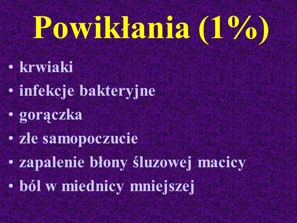Powikłania (1%) krwiaki infekcje bakteryjne gorączka złe samopoczucie