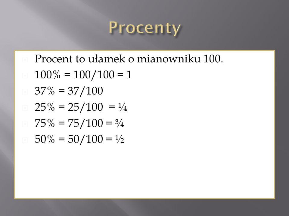 Procenty Procent to ułamek o mianowniku 100. 100% = 100/100 = 1