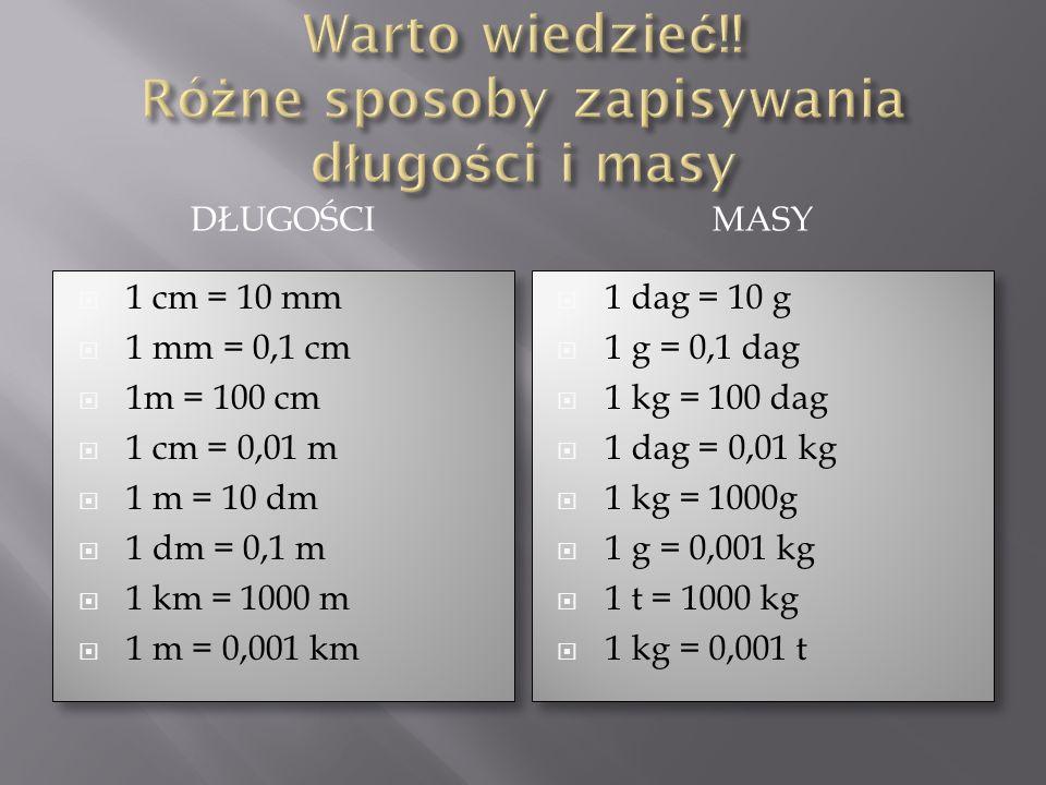 Warto wiedzieć!! Różne sposoby zapisywania długości i masy