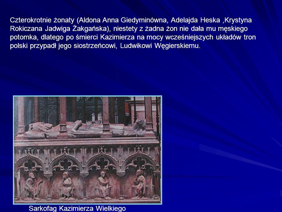 Czterokrotnie żonaty (Aldona Anna Giedyminówna, Adelajda Heska ,Krystyna Rokiczana Jadwiga Żakgańska), niestety z żadna żon nie dała mu męskiego potomka, dlatego po śmierci Kazimierza na mocy wcześniejszych układów tron polski przypadł jego siostrzeńcowi, Ludwikowi Węgierskiemu.