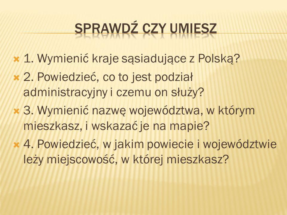 Sprawdź czy umiesz 1. Wymienić kraje sąsiadujące z Polską
