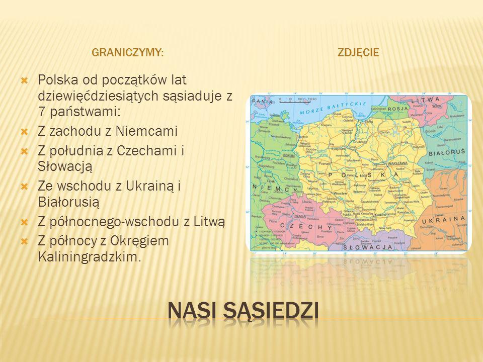 Graniczymy:Zdjęcie. Polska od początków lat dziewięćdziesiątych sąsiaduje z 7 państwami: Z zachodu z Niemcami.