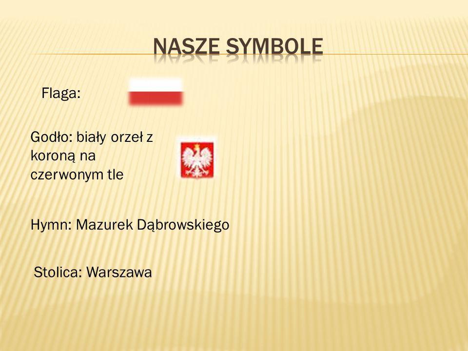 Nasze symbole Flaga: Godło: biały orzeł z koroną na czerwonym tle