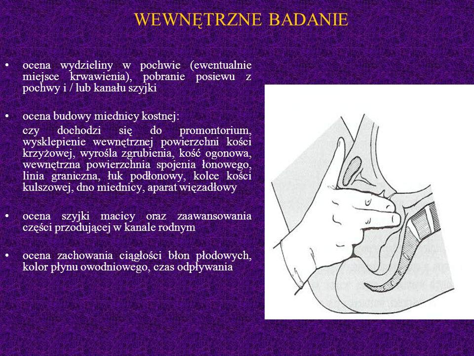 WEWNĘTRZNE BADANIE ocena wydzieliny w pochwie (ewentualnie miejsce krwawienia), pobranie posiewu z pochwy i / lub kanału szyjki.