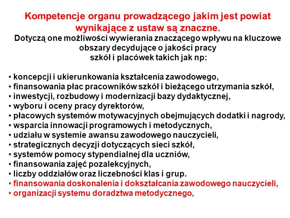 Kompetencje organu prowadzącego jakim jest powiat