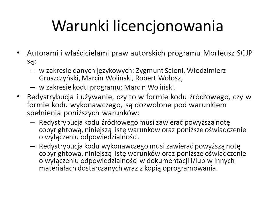 Warunki licencjonowania