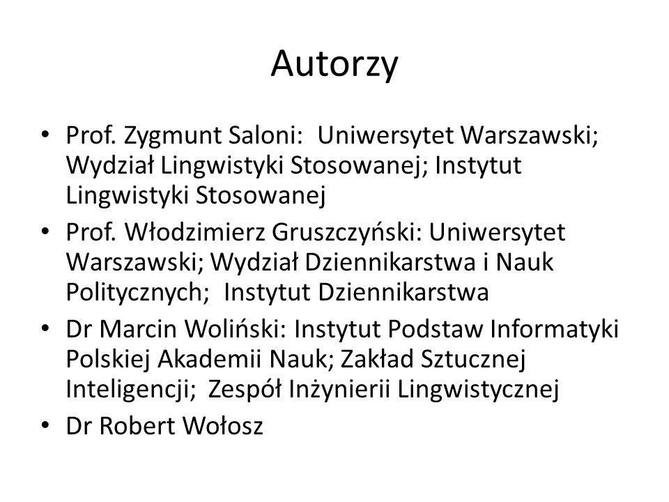 Autorzy Prof. Zygmunt Saloni: Uniwersytet Warszawski; Wydział Lingwistyki Stosowanej; Instytut Lingwistyki Stosowanej.