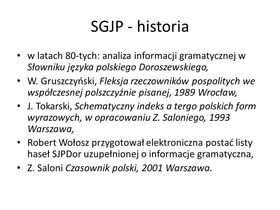 SGJP - historia w latach 80-tych: analiza informacji gramatycznej w Słowniku języka polskiego Doroszewskiego,