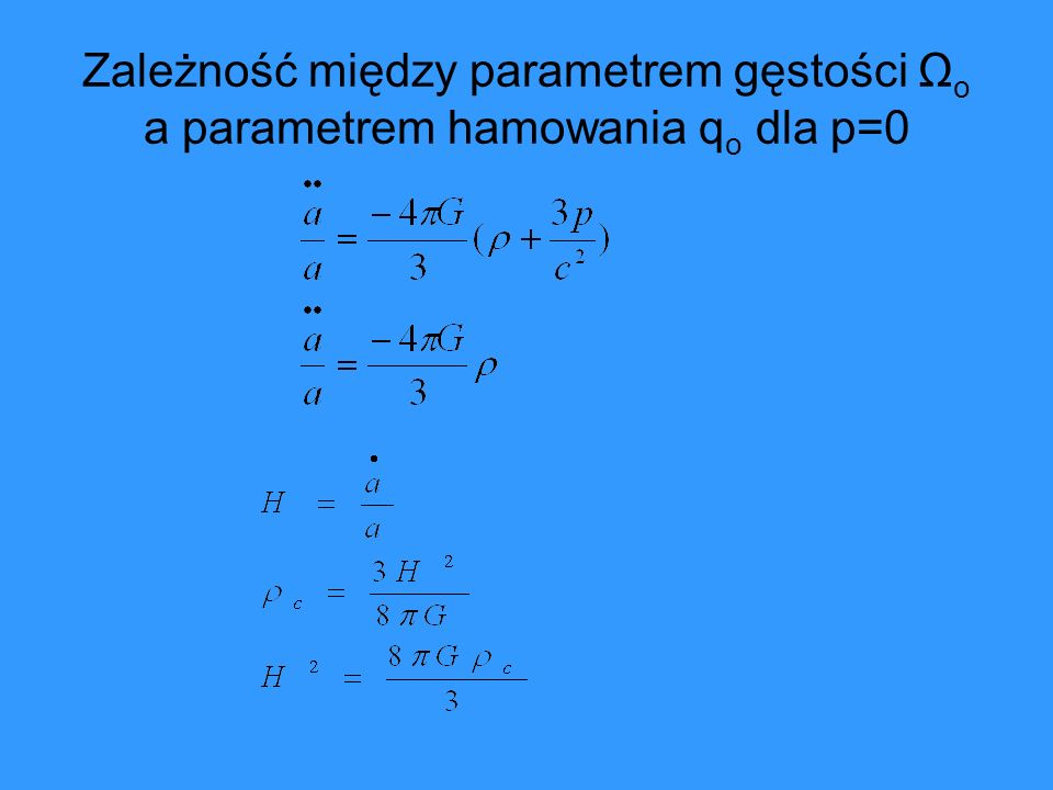 Zależność między parametrem gęstości Ωo a parametrem hamowania qo dla p=0
