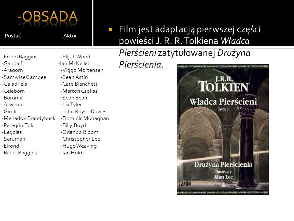 -Obsada Film jest adaptacją pierwszej części powieści J. R. R. Tolkiena Władca Pierścieni zatytułowanej Drużyna Pierścienia.