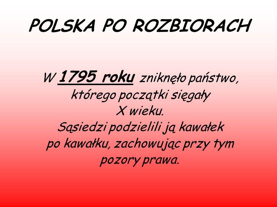 POLSKA PO ROZBIORACH W 1795 roku zniknęło państwo,