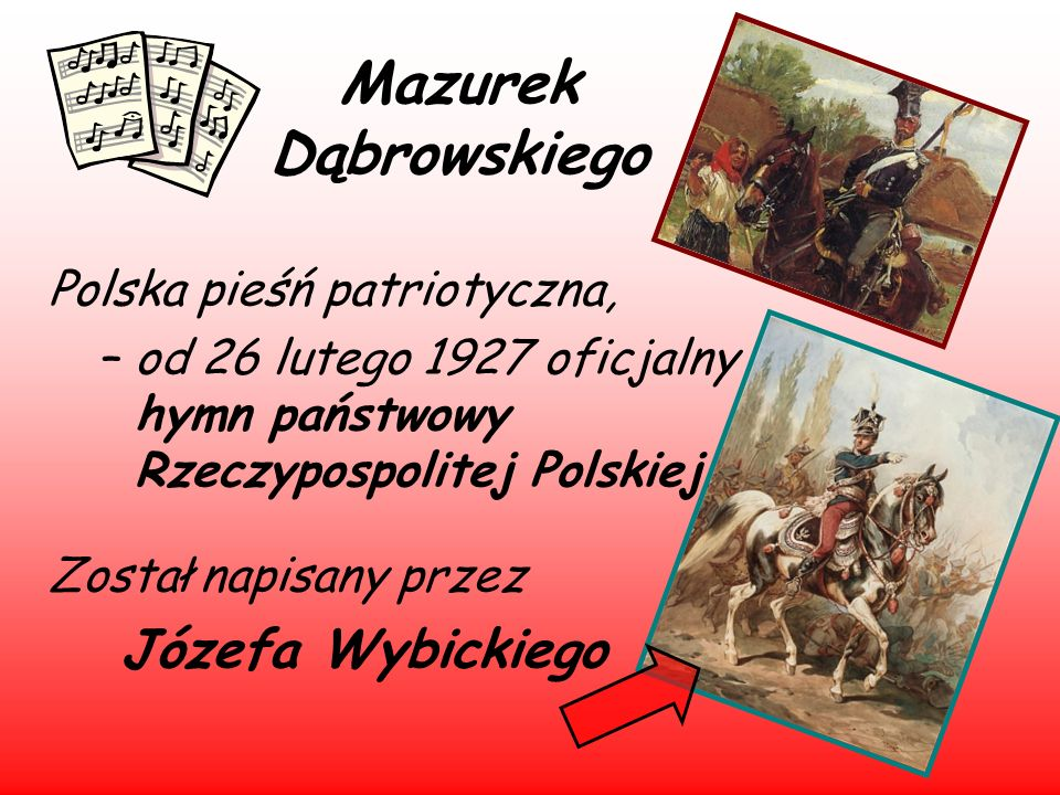 Mazurek Dąbrowskiego Józefa Wybickiego Polska pieśń patriotyczna,