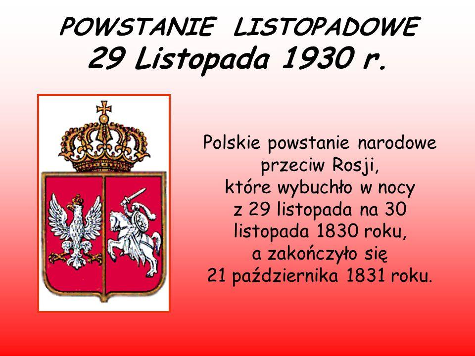 POWSTANIE LISTOPADOWE 29 Listopada 1930 r.