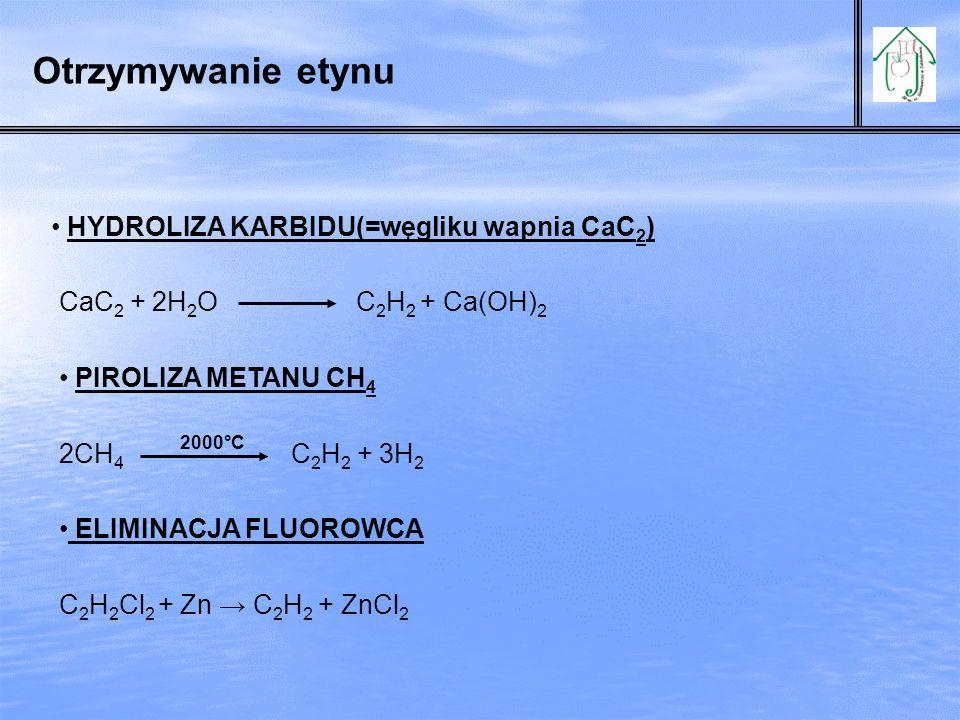 Otrzymywanie etynu HYDROLIZA KARBIDU(=węgliku wapnia CaC2)