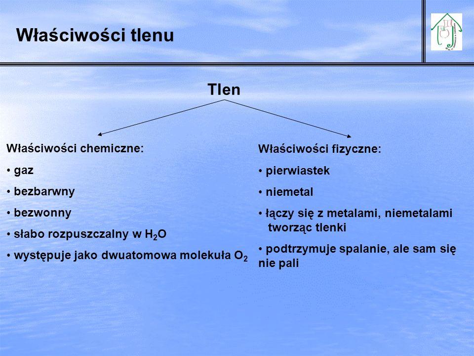 Właściwości tlenu Tlen Właściwości chemiczne: Właściwości fizyczne:
