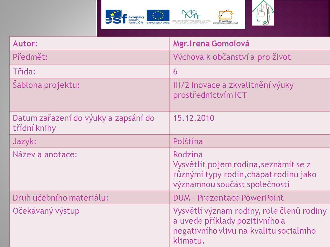 Autor: Mgr.Irena Gomolová. Předmět: Výchova k občanství a pro život. Třída: 6. Šablona projektu: