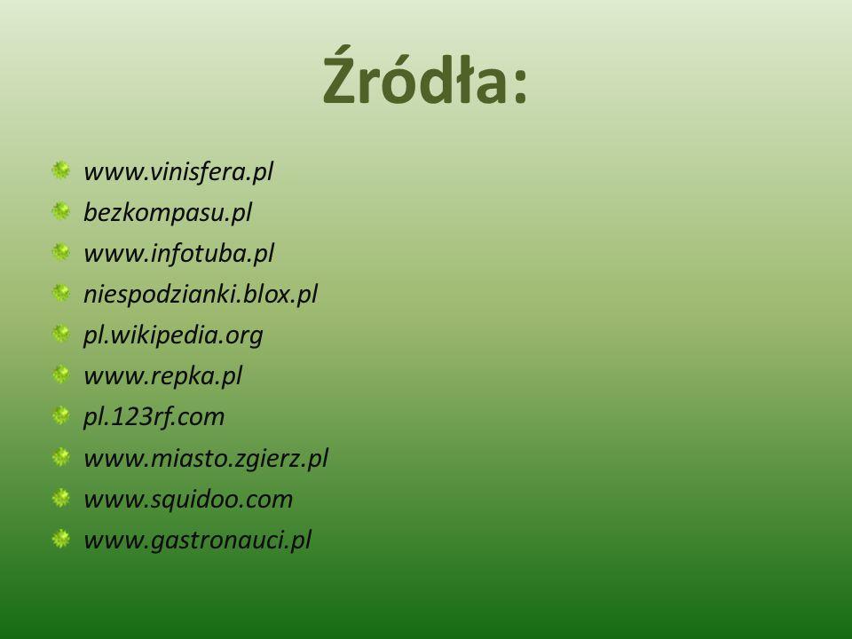 Źródła: www.vinisfera.pl bezkompasu.pl www.infotuba.pl