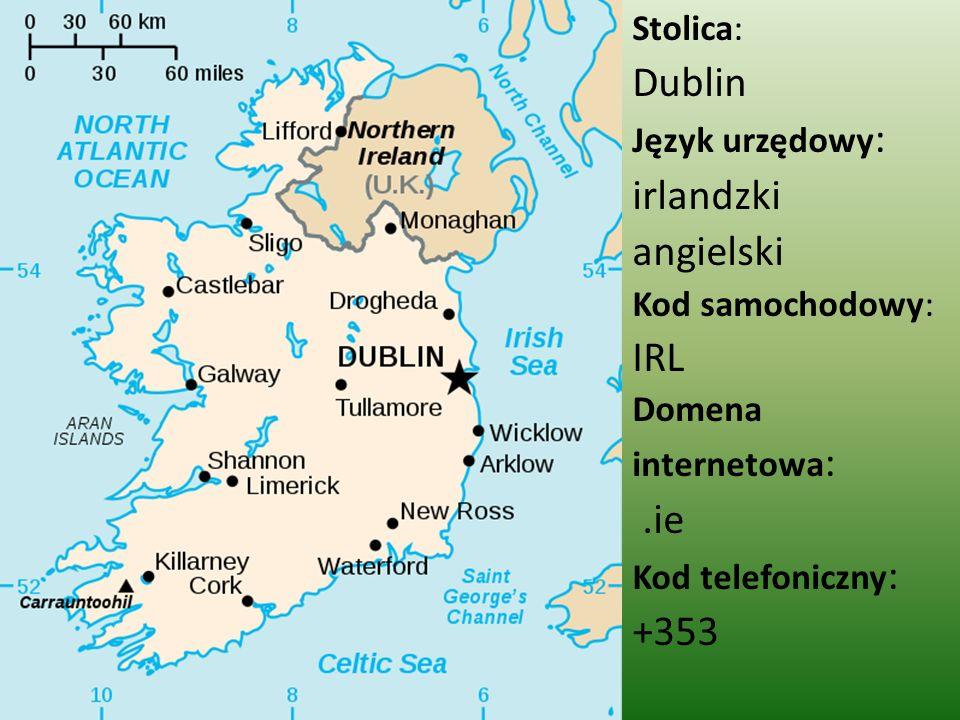 Dublin irlandzki angielski IRL .ie +353 Stolica: Język urzędowy: