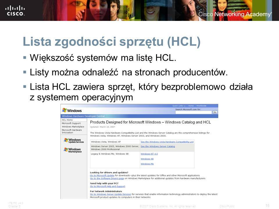 Lista zgodności sprzętu (HCL)