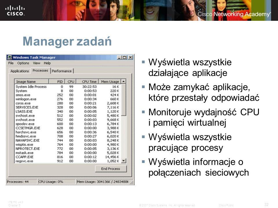 Manager zadań Wyświetla wszystkie działające aplikacje