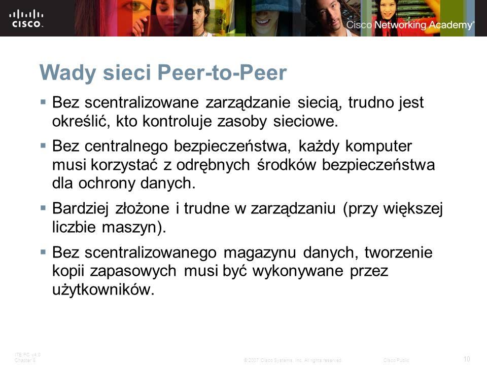 Wady sieci Peer-to-Peer