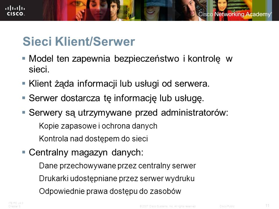 Sieci Klient/Serwer Model ten zapewnia bezpieczeństwo i kontrolę w sieci. Klient żąda informacji lub usługi od serwera.