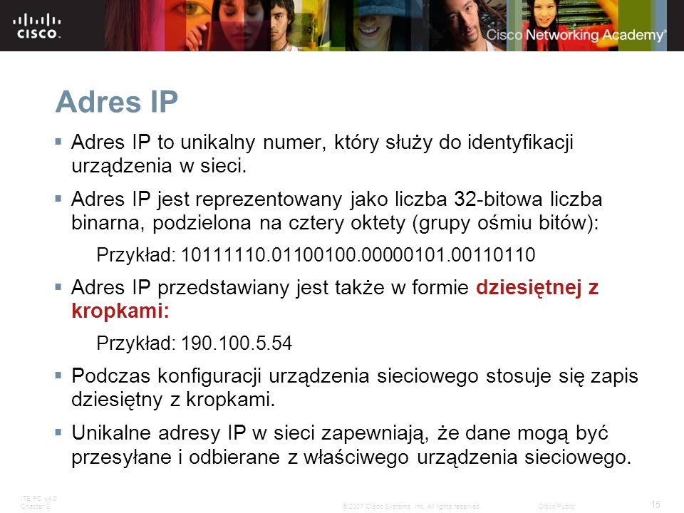 Adres IP Adres IP to unikalny numer, który służy do identyfikacji urządzenia w sieci.