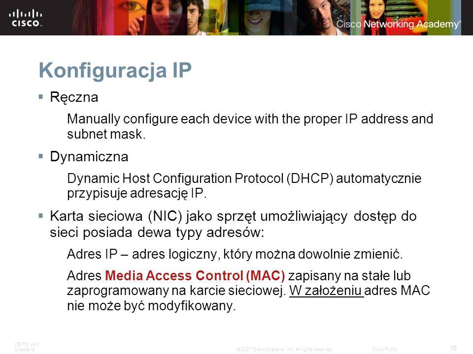 Konfiguracja IP Ręczna Dynamiczna