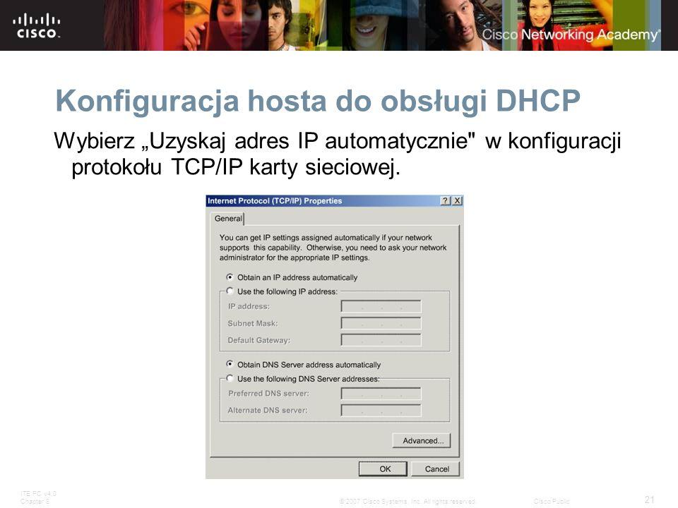Konfiguracja hosta do obsługi DHCP