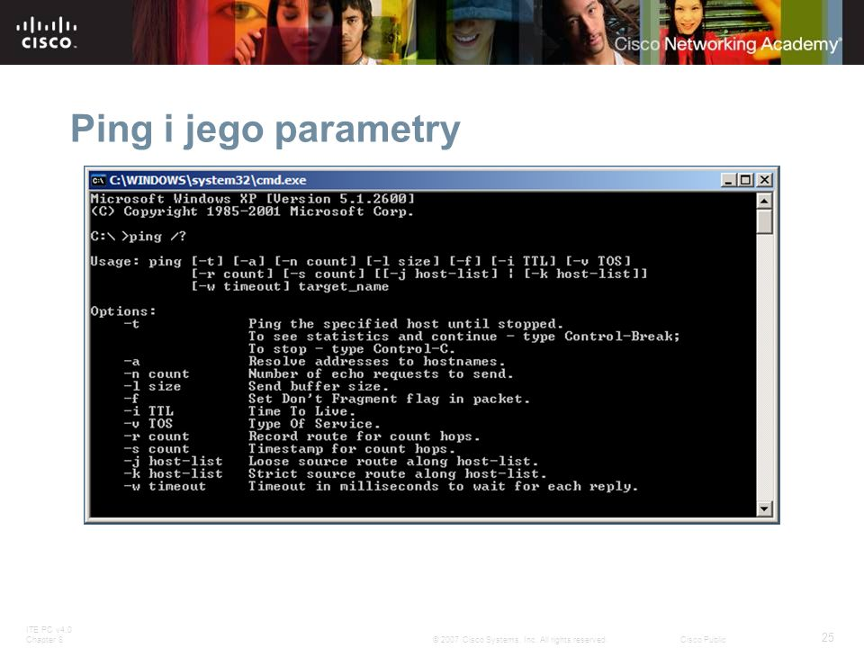 Ping i jego parametry Slide 29 – Ping Command Switches