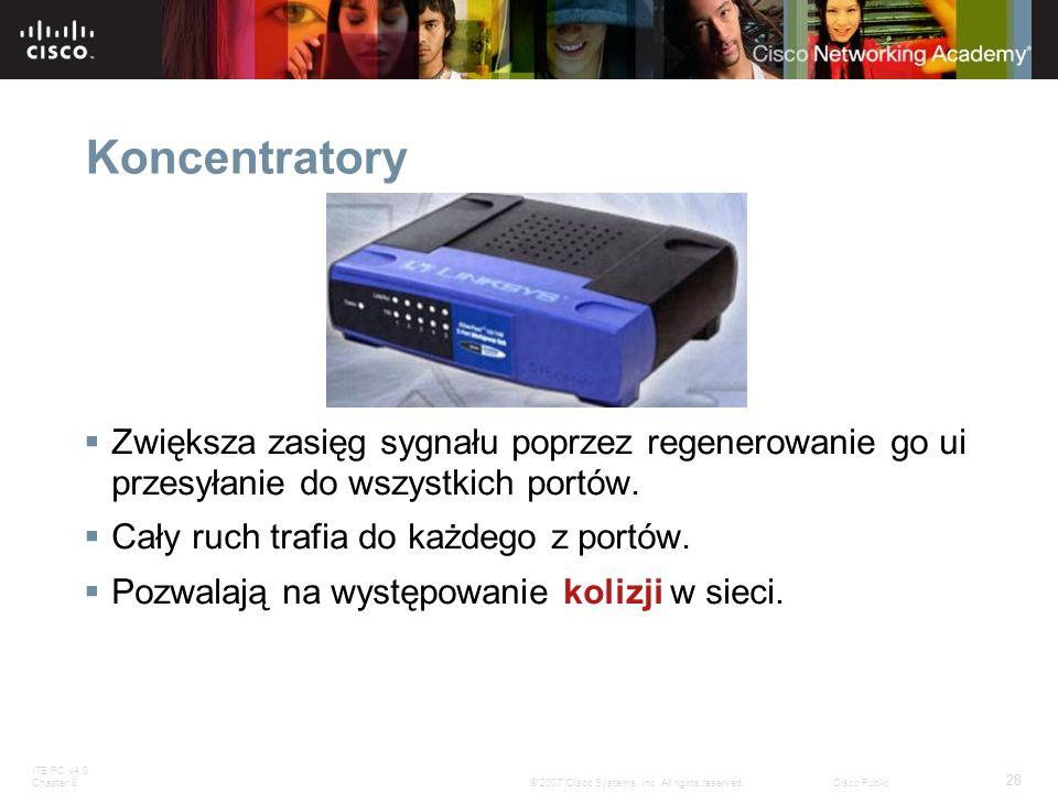 Koncentratory Zwiększa zasięg sygnału poprzez regenerowanie go ui przesyłanie do wszystkich portów.