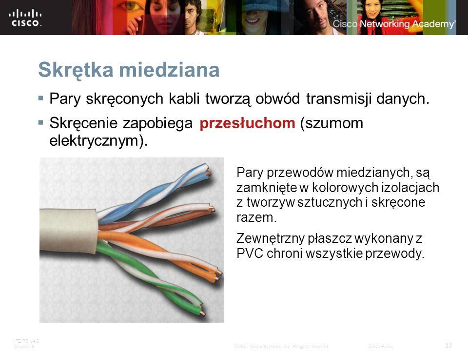 Skrętka miedziana Pary skręconych kabli tworzą obwód transmisji danych. Skręcenie zapobiega przesłuchom (szumom elektrycznym).