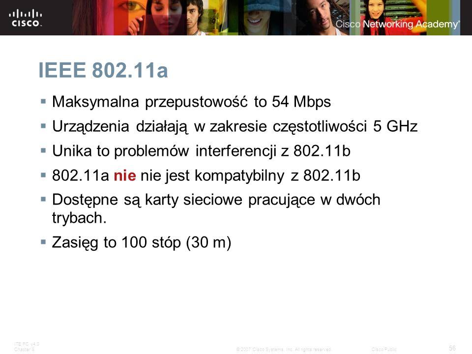 IEEE 802.11a Maksymalna przepustowość to 54 Mbps