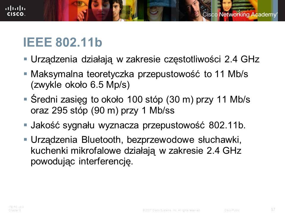 IEEE 802.11b Urządzenia działają w zakresie częstotliwości 2.4 GHz
