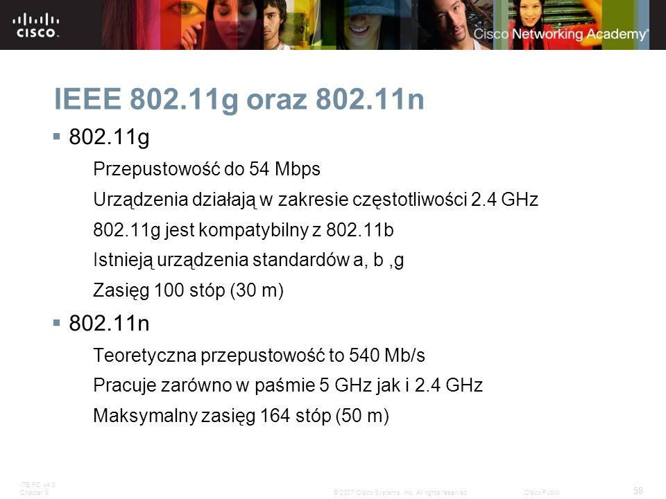 IEEE 802.11g oraz 802.11n 802.11g 802.11n Przepustowość do 54 Mbps