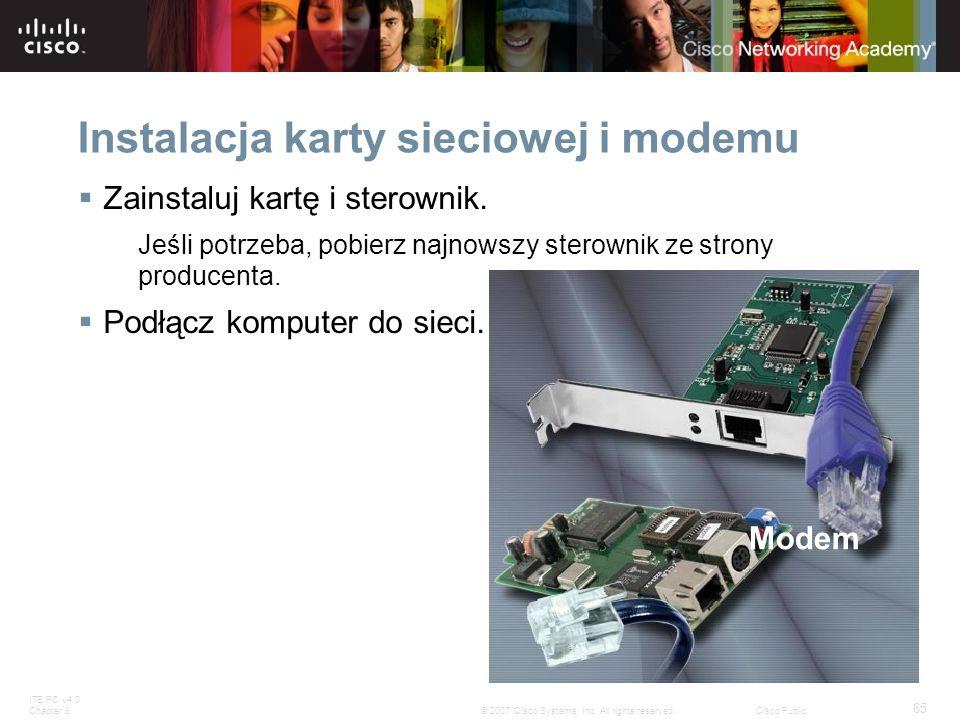 Instalacja karty sieciowej i modemu