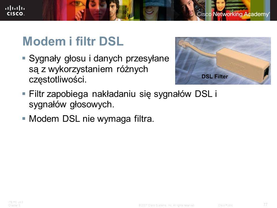 Modem i filtr DSL Sygnały głosu i danych przesyłane są z wykorzystaniem różnych częstotliwości.