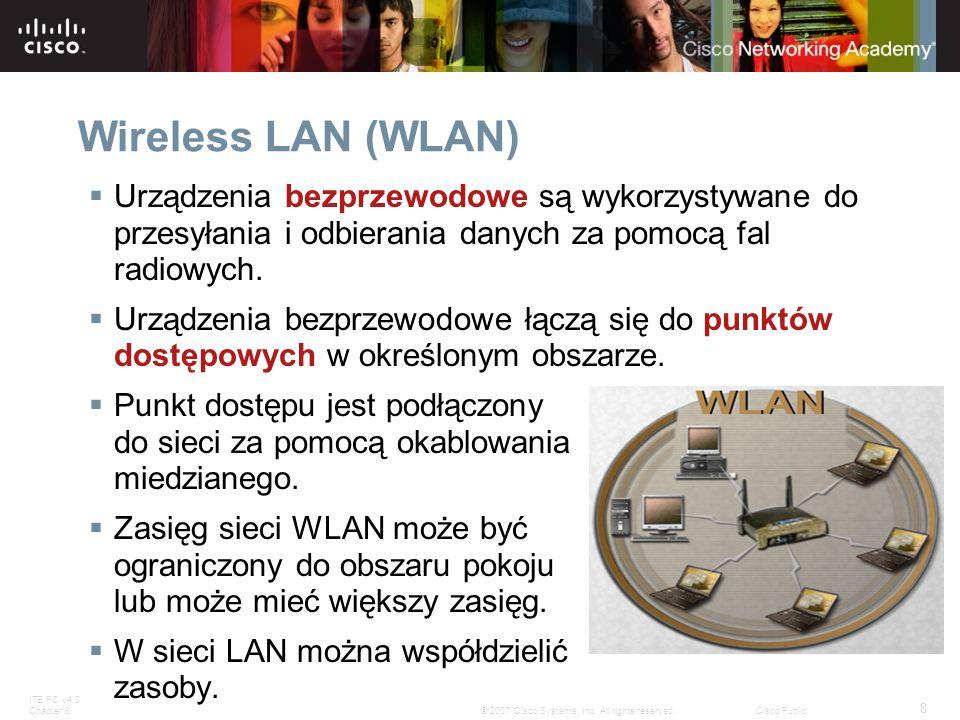 Wireless LAN (WLAN) Urządzenia bezprzewodowe są wykorzystywane do przesyłania i odbierania danych za pomocą fal radiowych.
