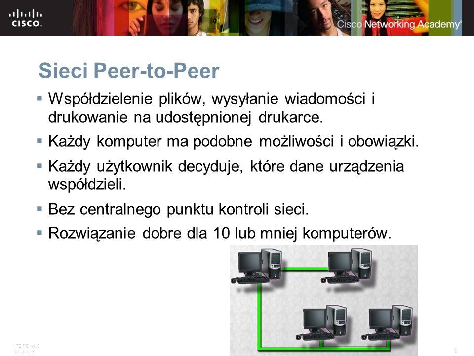Sieci Peer-to-Peer Współdzielenie plików, wysyłanie wiadomości i drukowanie na udostępnionej drukarce.