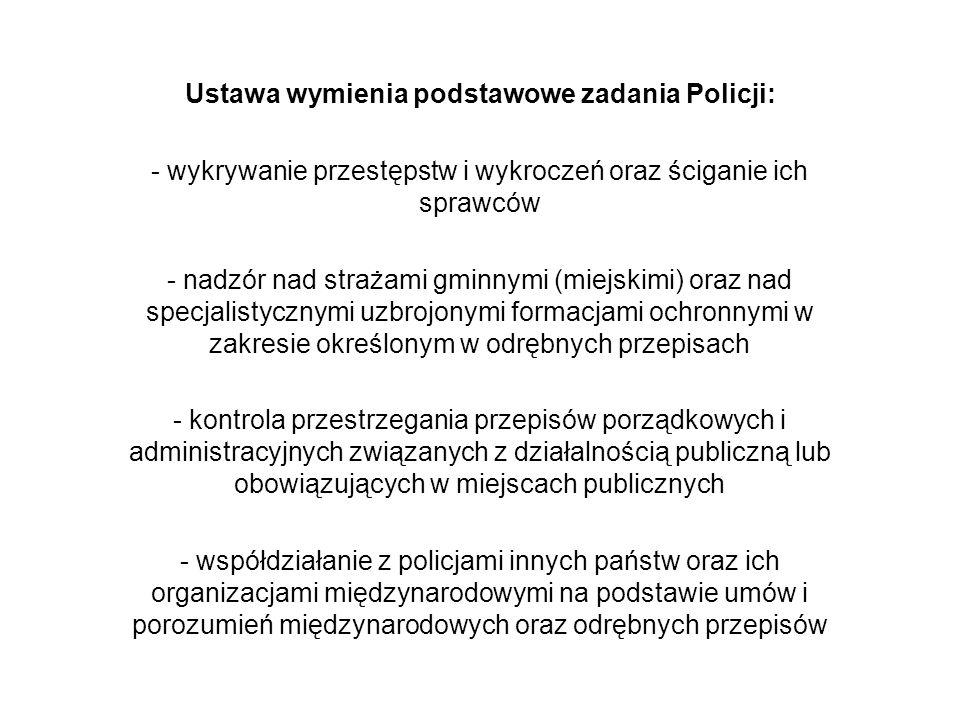 Ustawa wymienia podstawowe zadania Policji: