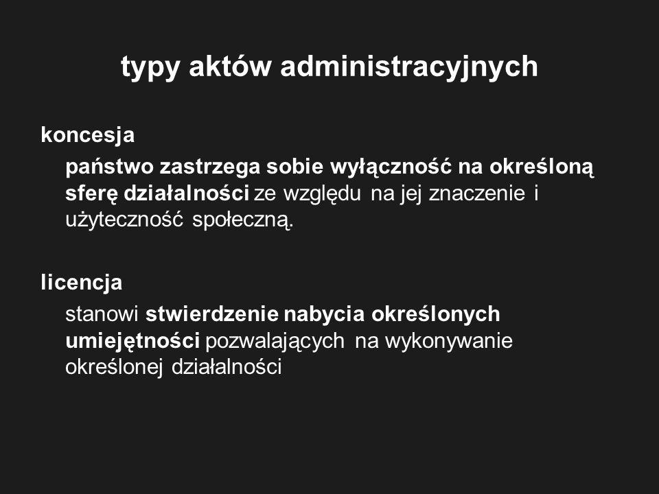 typy aktów administracyjnych