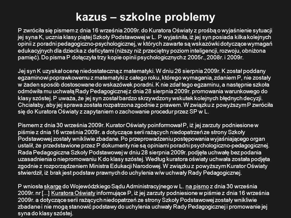 kazus – szkolne problemy