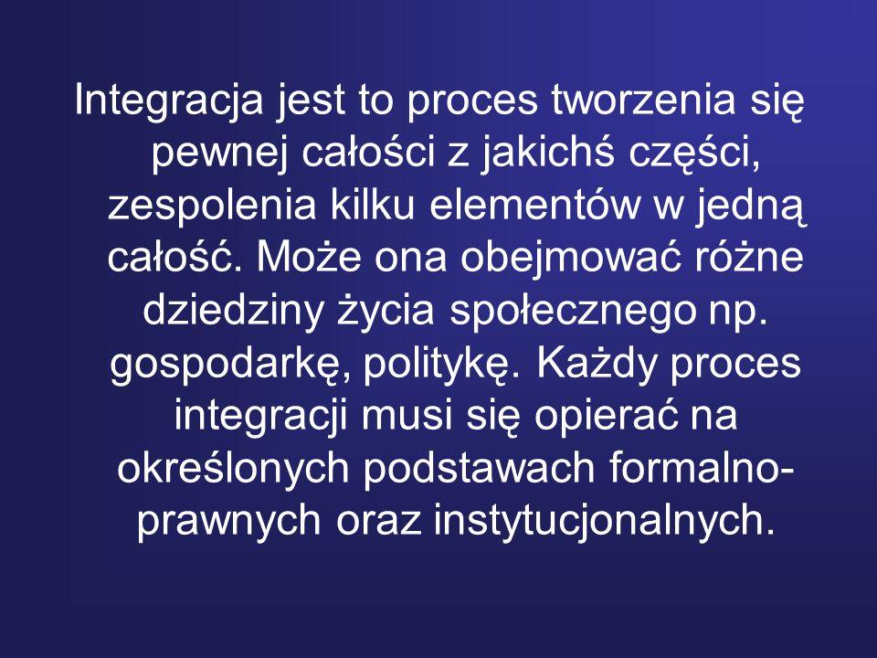Integracja jest to proces tworzenia się pewnej całości z jakichś części, zespolenia kilku elementów w jedną całość.