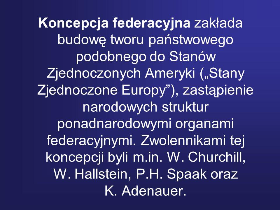 """Koncepcja federacyjna zakłada budowę tworu państwowego podobnego do Stanów Zjednoczonych Ameryki (""""Stany Zjednoczone Europy ), zastąpienie narodowych struktur ponadnarodowymi organami federacyjnymi."""