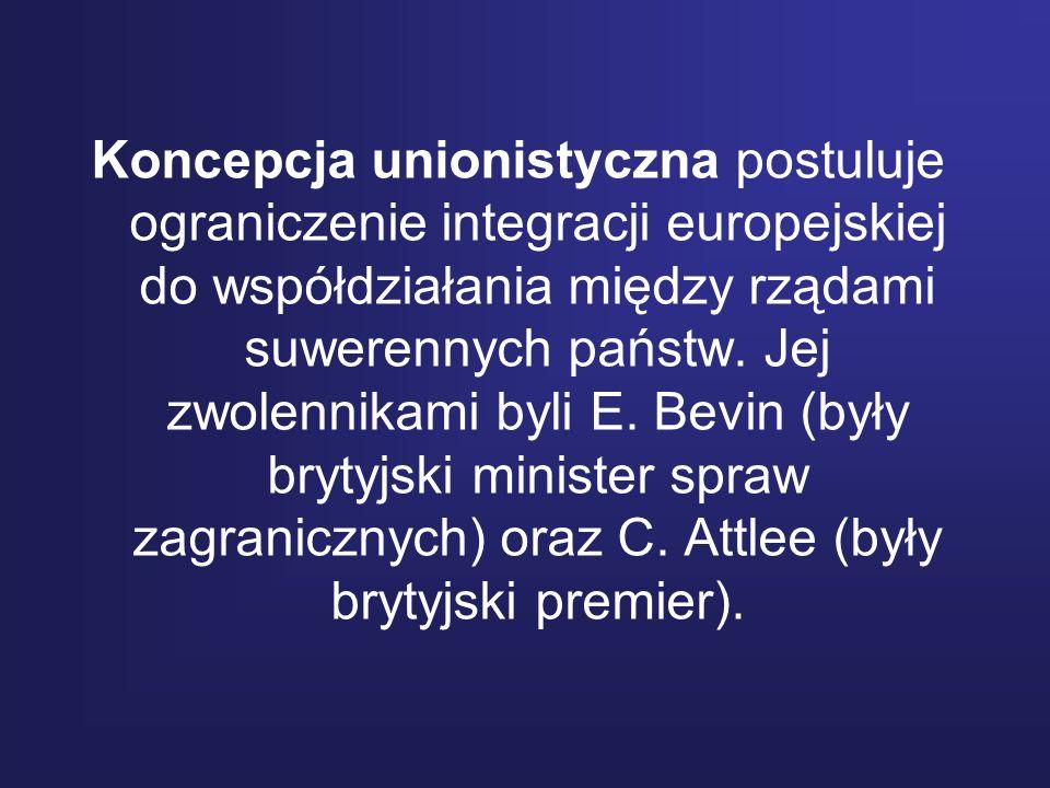 Koncepcja unionistyczna postuluje ograniczenie integracji europejskiej do współdziałania między rządami suwerennych państw.
