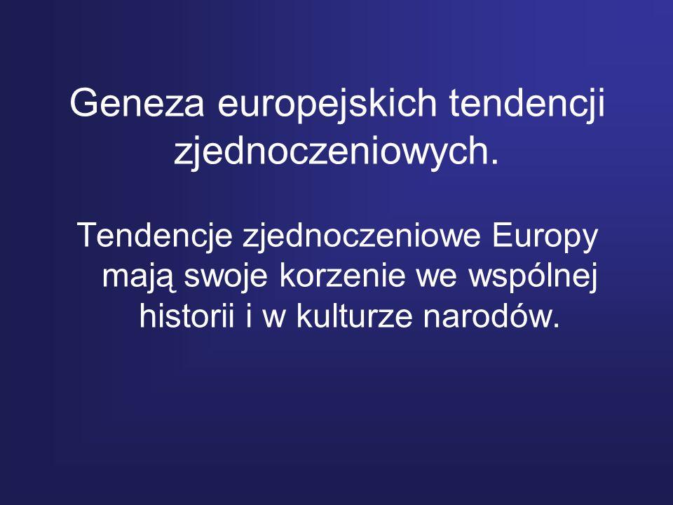 Geneza europejskich tendencji zjednoczeniowych.